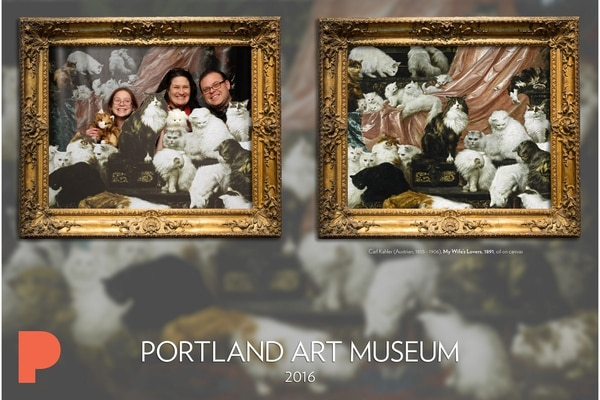Photo from Portland Art Museum flickr page. PAM uploads the cat booth selfies to its photostream.