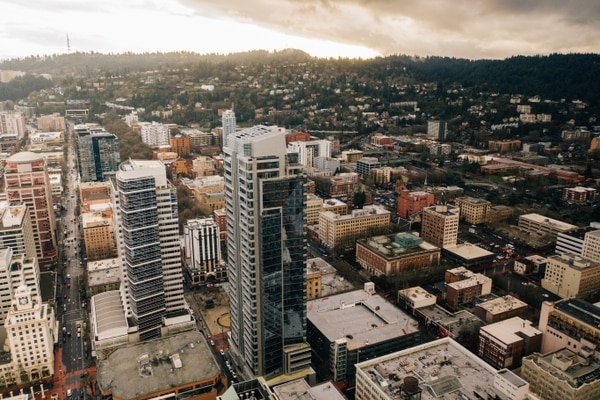 Park Avenue West tower and Portland's west hills. (Henry Cromett)