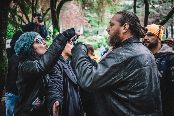 Confrontations like May 13 are not merely political rallies, but opportunities to gather intelligence on the opposing side and to engage in a debate familiar to anyone who's perused an online comments section. (Sam Gehrke)