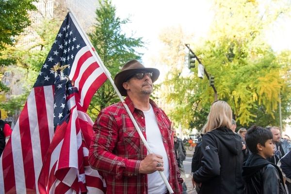 A Bundy supporter celebrates the acquittal. (Joe Riedl)