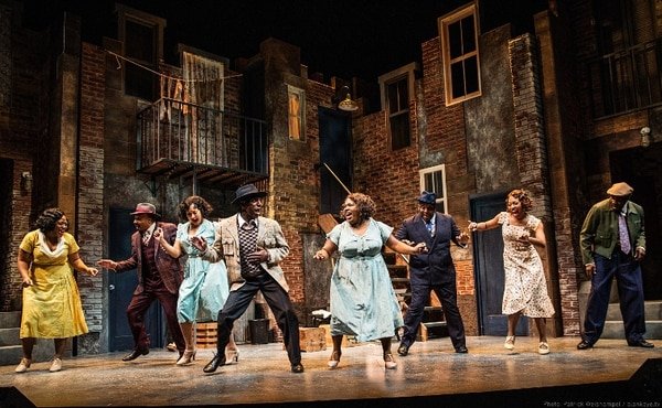 "(L-R) Charity Angél Dawson, David Jennings, Olivia Phillip, André Ward, Maiesha McQueen, DeMone, Mia Michelle McClain and David St. Louis in ""Ain't Misbehavin'"" at Portland Center Stage. Photo by Patrick Weishampel/blankeye.tv."