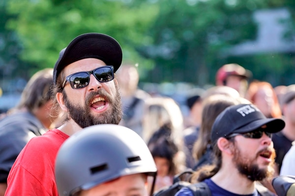 """Leftist protesters trailed the alt-right """"free speech"""" march along the Waterfront. (William Gagan)"""