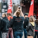 A Trail Blazers fan snaps a cellphone photo in the Rose Quarter during the 2019 playoffs. (Sam Gehrke)