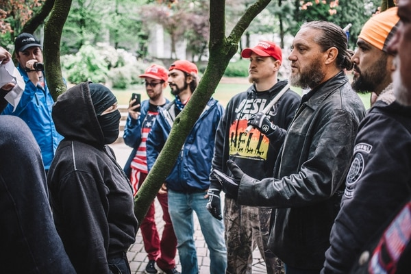 Antifa square off with alt-right protesters in Portland on May 13.