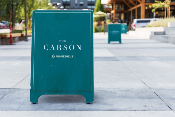 The Carson, a 385-unit apartment complex in Slabtown, is offering six weeks of free rent to prospective tenants. They also get an Amazon Echo. (Justin Katigbak)