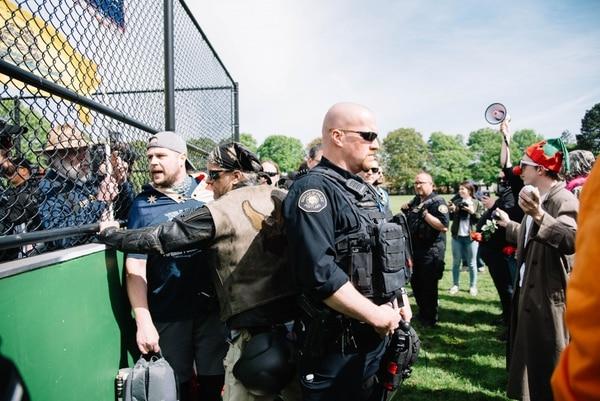 "Jeremy Christian at a ""free speech"" rally in Portland last month. (Joe Riedl)"