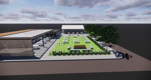 An artist's rendering of the new Breakside Beaverton beer garden. Image courtesy of Breakside Brewery.