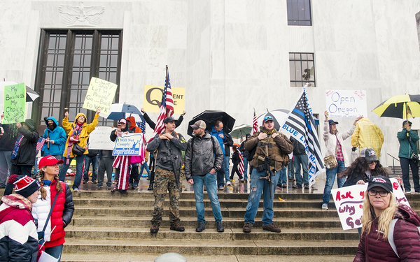 WORLDS COLLIDE: QAnon supporters sprinkled throughout the crowd at a Reopen Oregon rally in Salem on May 2. 2020 (Aaron Wessling)