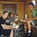 Everclear in their trailer after a miserable gig at an outdoor radio festival somewhere in the Midwest. Courtesy of Steven Birch