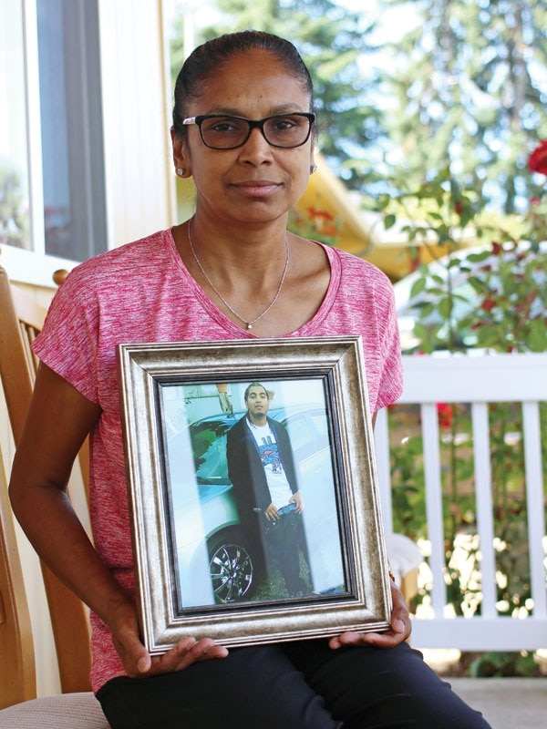 Nath's mother, Sandhya, keeps memorials to her son, including a photo collage, shown below. (Sofie Murray)