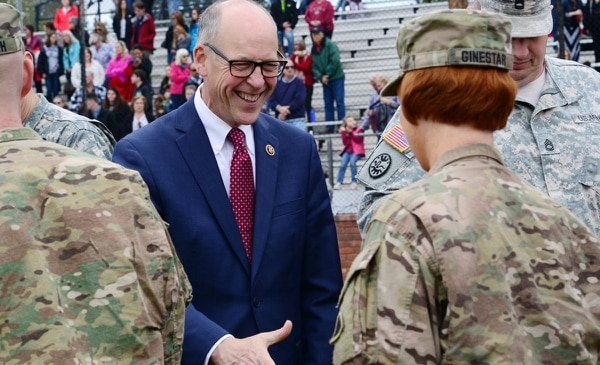 U.S. Rep. Greg Walden greets Oregon Army National Guard soldiers returning from Afghanistan in a 2015 ceremony in Bend. (Oregon National Guard, Creative Commons)