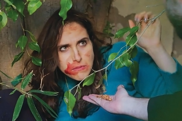 "Season 2 of An Emmy for Megan begins with star Megan Amram living outside after losing to James Corden and coming back to life after being murdered. IMAGE: Courtesy of ""An Emmy For Megan."""