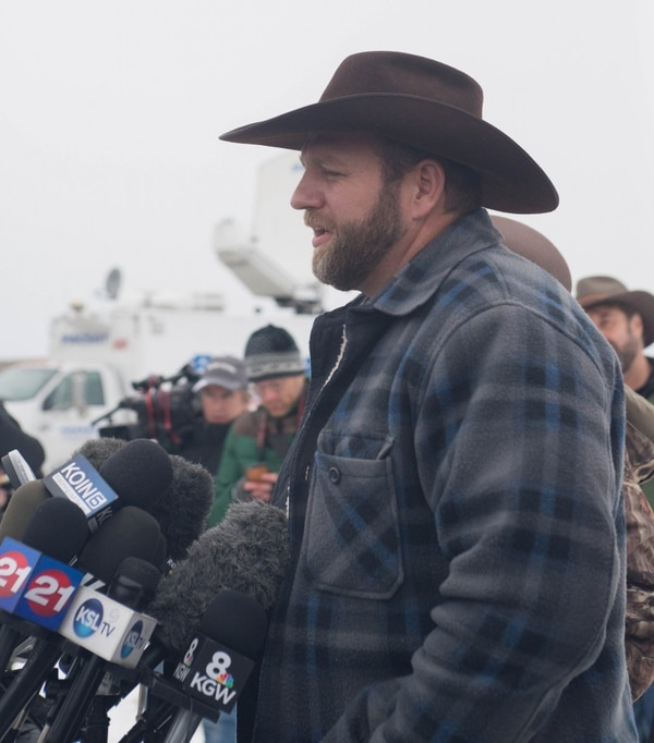 Ammon Bundy, who runs a fleet maintenance company in Phoenix, gives press conferences at 11 am each day in the federal building he's seized in rural Harney County, Ore. (Jason Wilson)