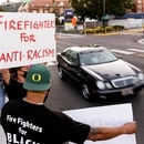 NEW DAY: Portland firefighters, acting independently from the bureau and the union, rallied in support of the Black Lives Matter movement over the weekend. (Wesley Lapointe)