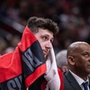 Jusuf Nurkic takes a rest as the Trail Blazers face the Indiana Pacers on March 18, 2019 at the Moda Center. (Bruce Ely / Trail Blazers)