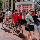 In line for food carts in Pioneer Courthouse Square. (Wesley Lapointe)