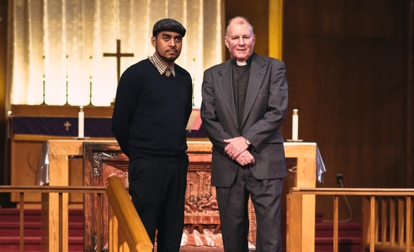 Francisco Aguirre and Pastor Mark Knutson at Augustana Lutheran Church in Northeast Portland (Thomas Teal)