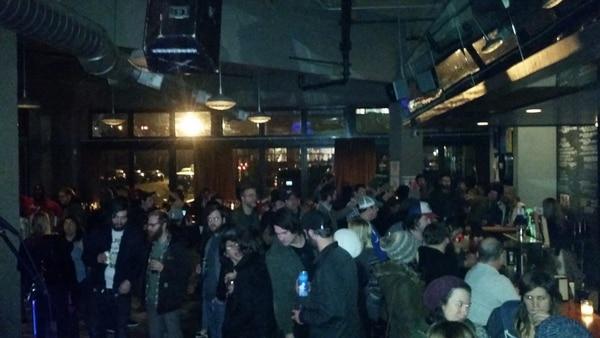 The crowd at Bunk Bar for Bim Ditson's mayoral campaign kickoff.