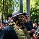 Right-wing protesters in Portland on June 29, 2019. (Justin Katigbak)