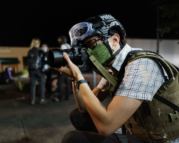 Justin Yau (documents chaos outside Ventura Park in outer Southeast Portland. (Alex Wittwer)