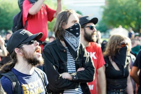 Antifascist protesters in July 2017. (William Gagan)