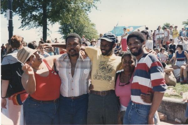 Saadat, Amari Jabarri, Rupert Kinnard, Elizabeth Waters and Cliff Jones at a Portland Pride rally, early 1980s.