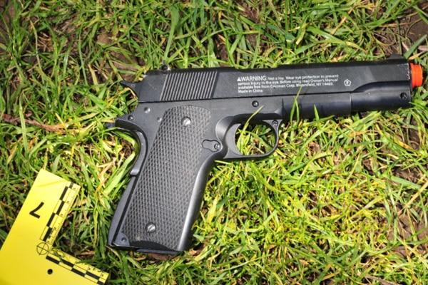 Portland police released this photograph of Delgado's replica gun. (PPB)