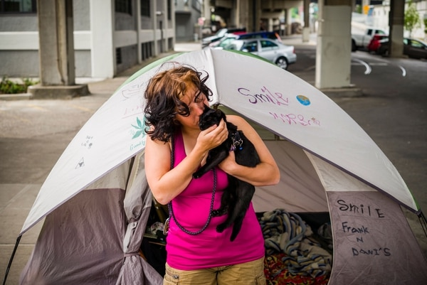 Homeless women were among people who set up camp along the Vera Katz Eastbank Esplanade in May 2015.