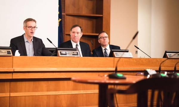 Mayor Ted Wheeler (left) during a City Council meeting. (Thomas Teal)