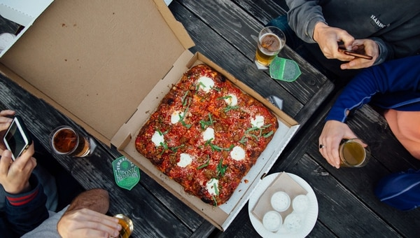 Ranch pizza with goat cheese. (Henry Cromett)