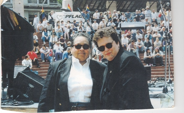 Kathleen Saadat (left) with Donna Redwing at a No on 9 rally, 1992.