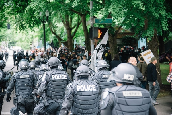 Multnomah County Sheriff's officers outside Chapman Square on June 4. (Joe Michael Riedl)