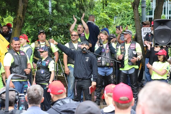 "Joey Gibson speaks at a right-wing ""free speech"" rally in Terry Schrunk Plaza on June 4, 2017. (Tom Berridge)"