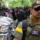 Oath Keepers at a Portland protest in 2017. (William Gagan)
