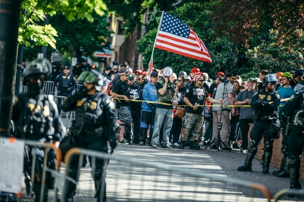 Patriot Prayer protesters gather in downtown Portland on June 30, 2017. (Sam Gehrke)