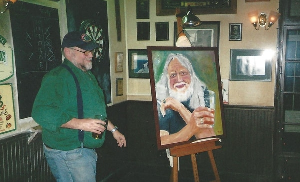 (John Foysten unveiling his painting of Don that hangs in the Pub)