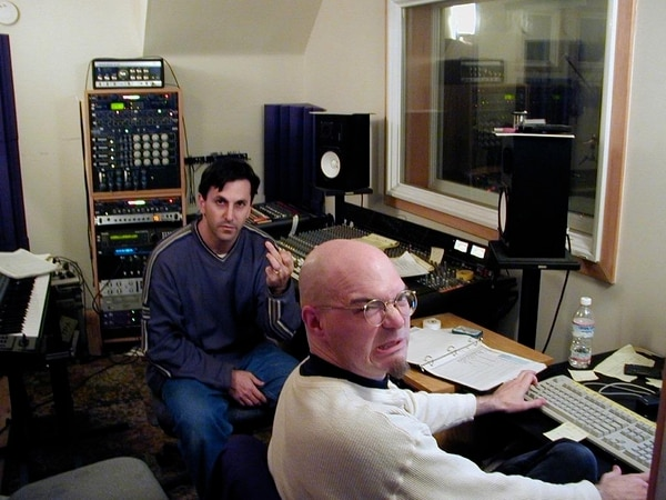 Lars Fox (left) and Neal Avron waiting for Art to show up in the studio during the recording of Afterglow. Image courtesy of Fox.