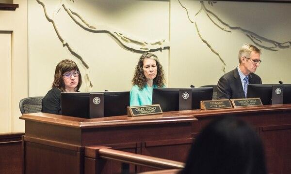 Commissioners Chloe Euday and Amanda Fritz, and Mayor Ted Wheeler. (Thomas Teal)