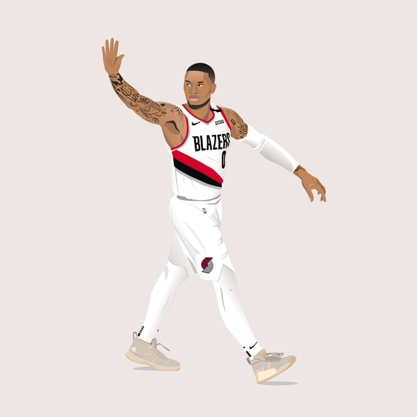 Damian Lillard waved goodbye to the Thunder after his buzzer-beater, inspiring art and memes. (@maggietaylor)