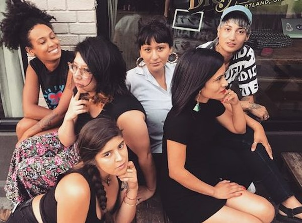 Clockwise from Center: Emilly Prado, Luz Elena Mendoza, Marina Mena, Yuriko Zubia, Diana Suarez, Jené Etheridge (courtesy of Noche Libre)