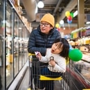 Peter Cho and his son, Elliott, at H Mart. IMAGE: Thomas Teal.