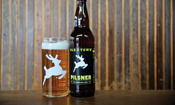 Old Town Brewing's pilsner is decorated with the white stag. (Hunter Murphy)