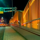 The Woodburn Overpass has turned orange for a few days to remind travelers: See Orange: Zone In. (Oregon Department of Transportation)