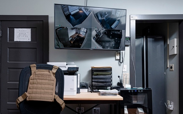 BULLETPROOF: Inside a back room in Fidus dispensary, a kevlar vest is strapped to an office chair.