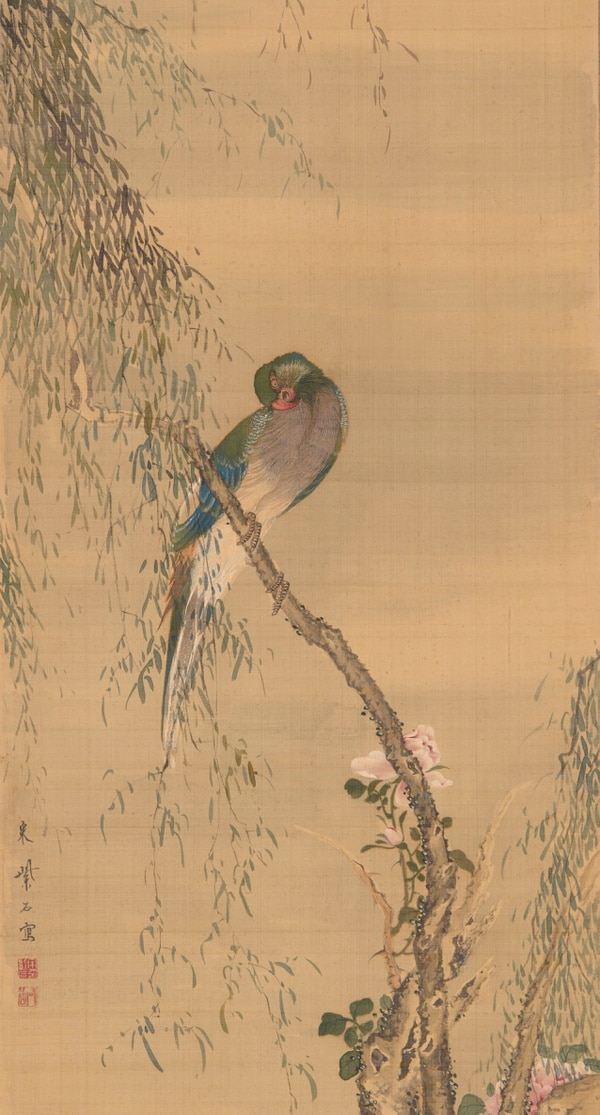 Sō Shiseki (Japanese, 1712¬–1786), Red-Breasted Parakeet on Willow with Roses (detail), 1764, one of a pair of hanging scrolls; ink and color on silk, 44 3/16 x 13 9/16 in., Collection of Mary and Cheney Cowles.