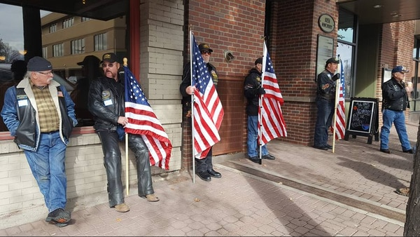Oregon Veterans Motorcycle Association members guard U.S. Rep. Greg Walden's office on Feb. 28. (Indivisible Bend)