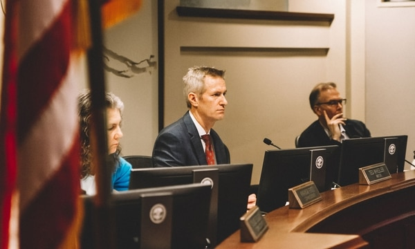 Mayor Ted Wheeler hears testimony on height limits and the 2035 Plan. (Daniel Stindt)