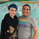 Amber Reeves and Ernesto Dominguez, student leaders at the Concordia University Queer Straight Alliance, host the final club meeting on the Portland college campus.