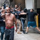 Protesters fight in Portland, Aug. 17, 2019. (Wesley Lapointe)