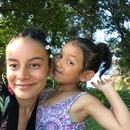 Andrea Valderrama (top) and her five-year-old daughter, Rosalía Ka Ling, at Blue Lake Regional Park in Fairview.